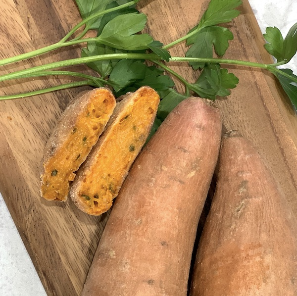 inside cut shot of a vegan sweet potato cake done in the air fryer