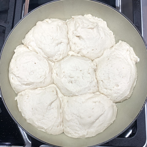 gluten free vegan dairy free pull apart dinner rolls after second rise in cast iron dutch oven