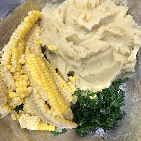 baked mashed potato fritters