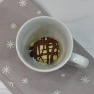 black and white allergy friendly hot chocolate bombs