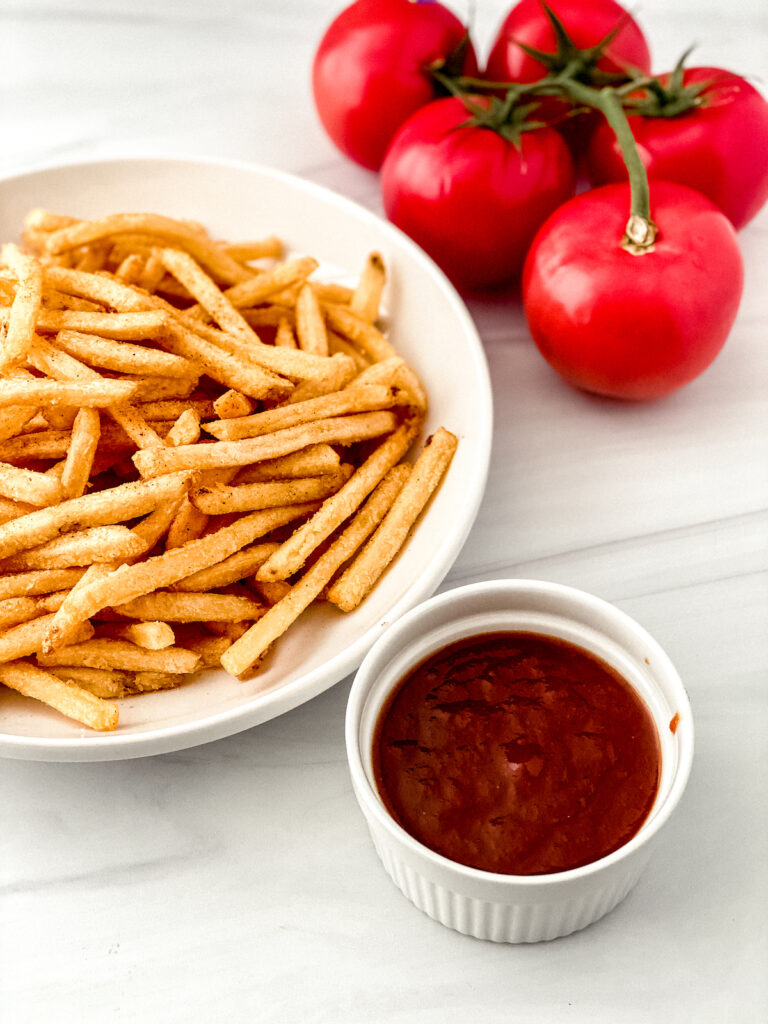 homemade ketchup from fresh tomatoes with French fries
