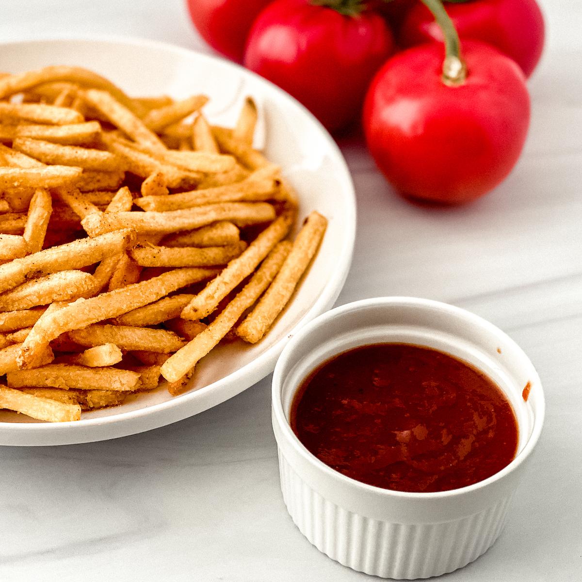 homemade ketchup and fries